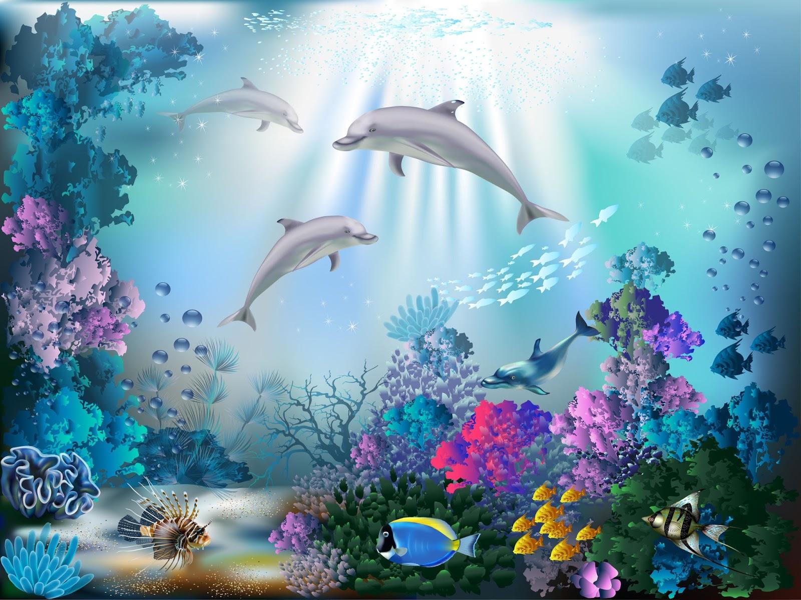 Banco de im genes fondo marino con peces de colores for Fondos animados de agua