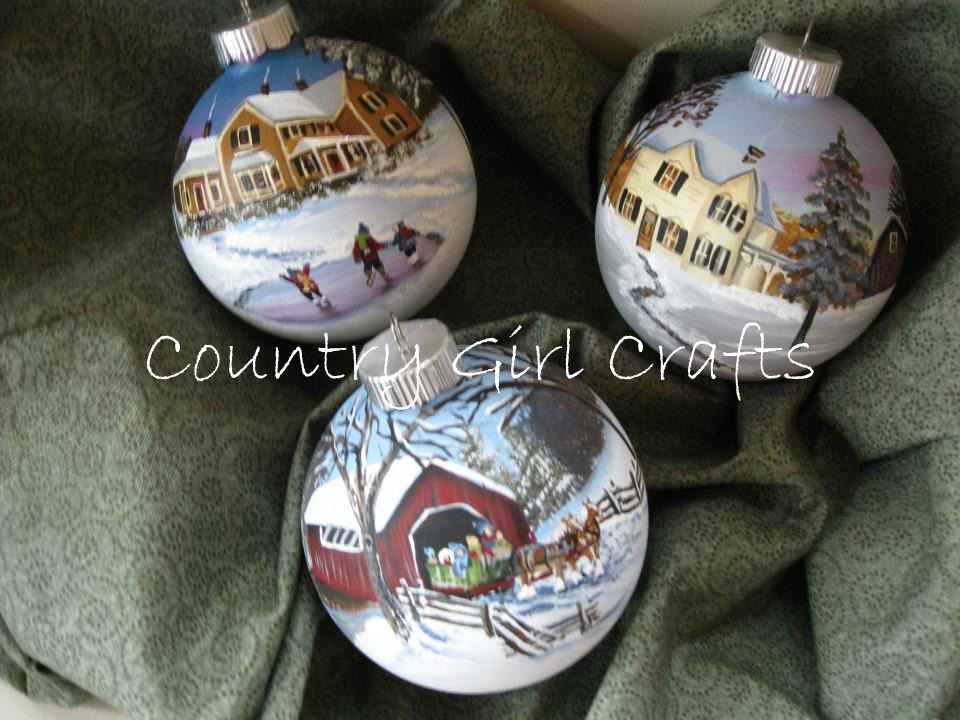 Country Girl Crafts: My Handpainted Glass Christmas Ornaments