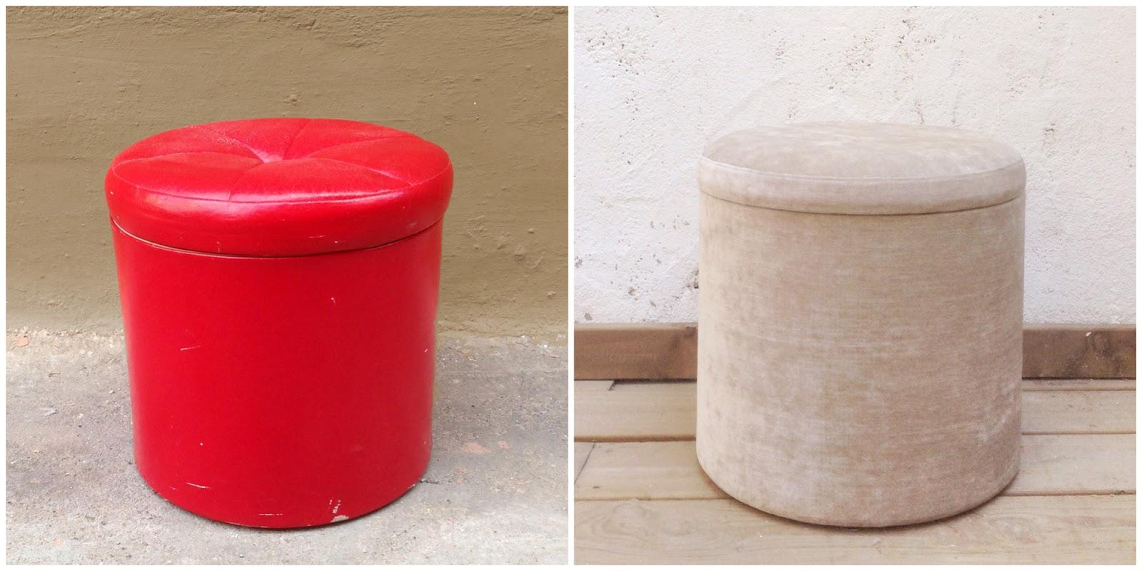 Antes y después - un puf retapizado