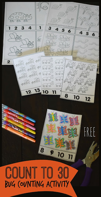 FREE Count to 30 Bug Activity - Such a clever free printable for kids to practice counting, numbers 1-30, coloring to strengthen hand muscles, and writing numbers too! Perfect for back to school, summer learning, homeschool, math center, home preschool, extra practice, and more for toddler, preschool, prek, kindergarten