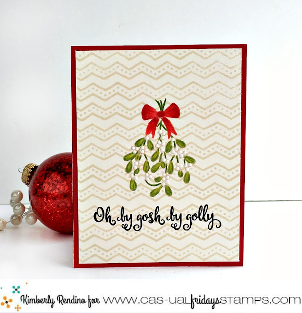 holiday | christmas | mistletoe | clear stamps | prismacolor pencils | oh by gosh by golly | handmade card | cardmaking | papercraft | cas-ual fridays stamps | kimpletekreativity.blogspot.com