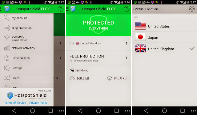 Tampilan Aplikasi Hotspot Shield VPN Proxy Elite