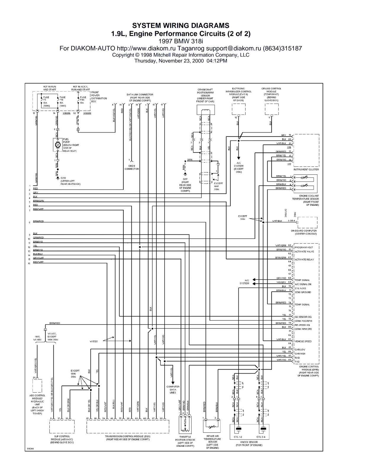 Wiring Diagrams And Free Manual Ebooks Bmw 318i 1 9l Engine Performance Circuits