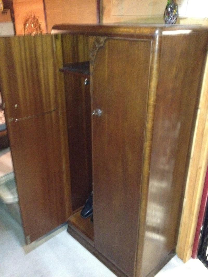 antique hunter art deco armoire wardrobe for sale. Black Bedroom Furniture Sets. Home Design Ideas