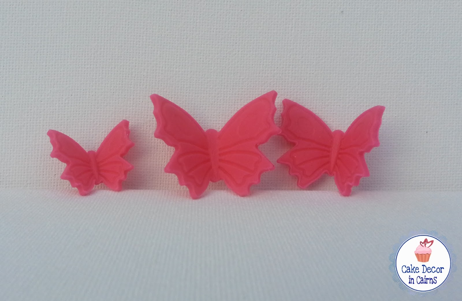 Dried and formed Pink fondant gumpaste butterflies