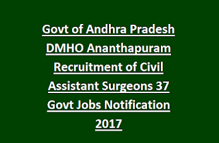 Govt of Andhra Pradesh DMHO Ananthapuram Recruitment of Civil Assistant Surgeons 37 Govt Jobs Notification 2017