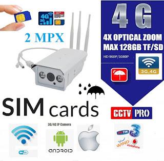 TELECAMERA IP CON SIM 3G 4G WIRELESS ESTERNO