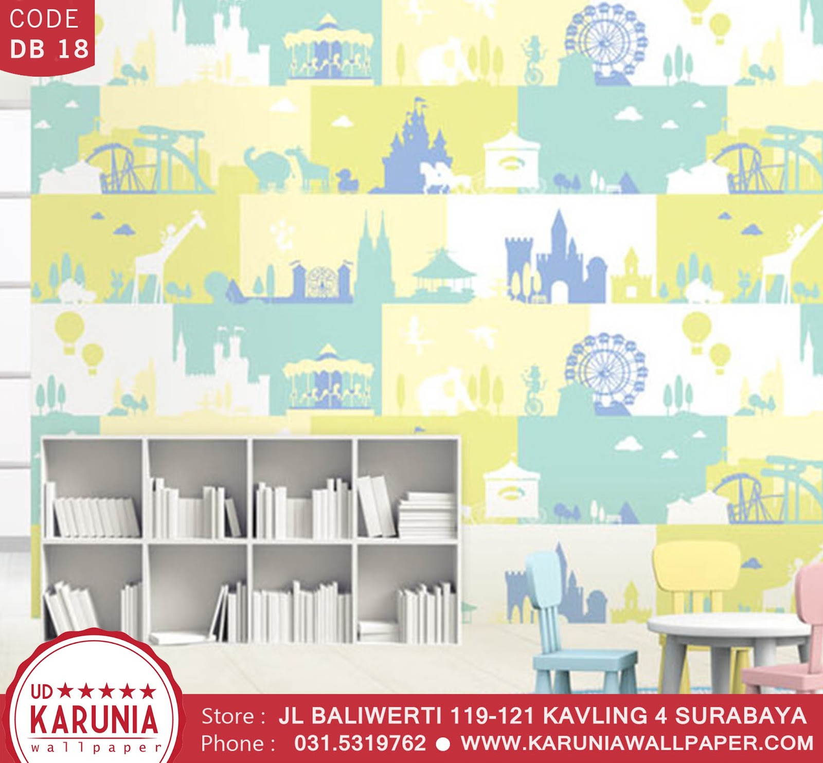 jual wallpaper anak colorful warna warni