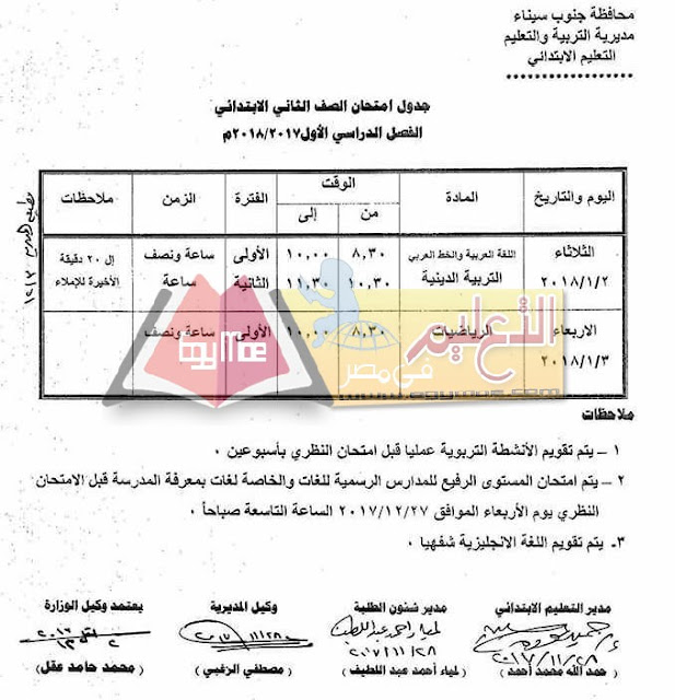 جدول امتحان نصف العام جنوب سيناء 2018 الصف الثاني الابتدائي