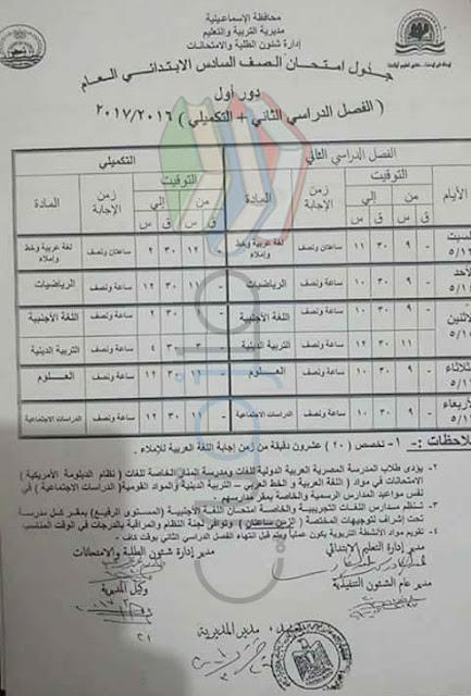 جدول امتحانات الصف السادس الابتدائي 2017 الترم الثاني محافظة الاسماعيلية