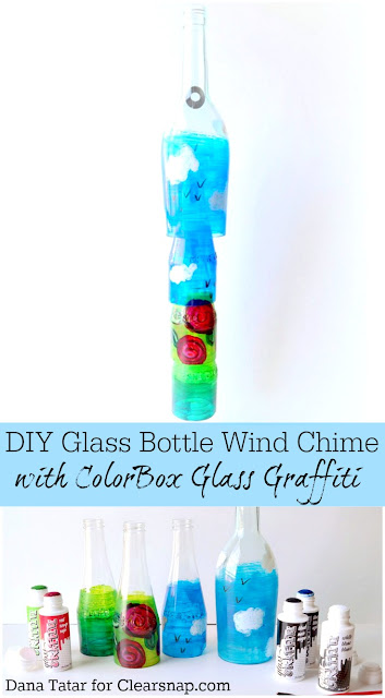 DIY Glass Graffiti Glass Bottle Wind Chime Tutorial by Dana Tatar for Clearsnap