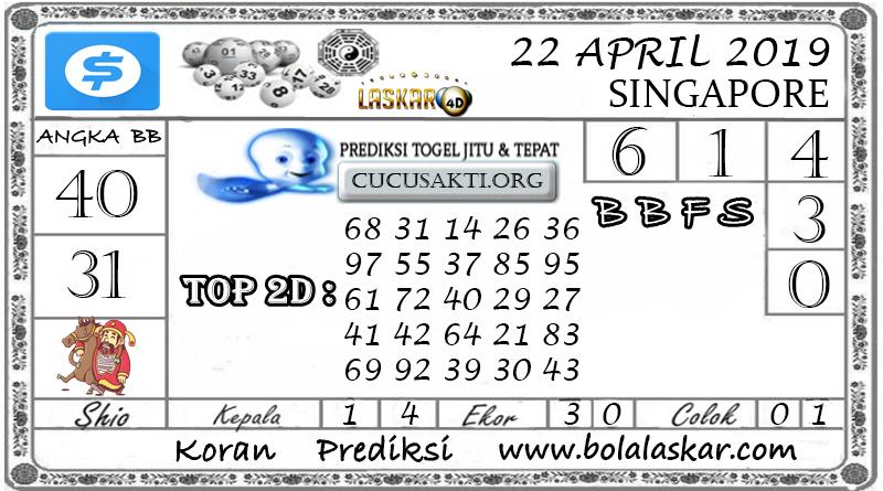 Prediksi Togel SINGAPORE LASKAR4D 22 APRIL 2019