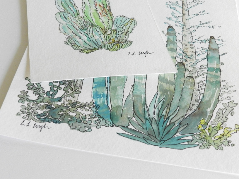 Original Watercolor Cactus Painting by Elise Engh: Grow Creative