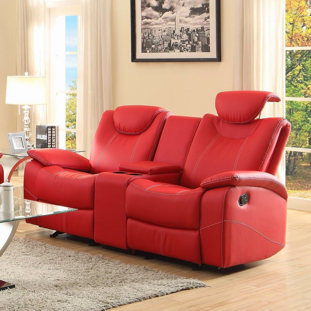 Cheap Sofas On Sale: Reclining Sofas For Sale Cheap: Red Leather Reclining Sofa