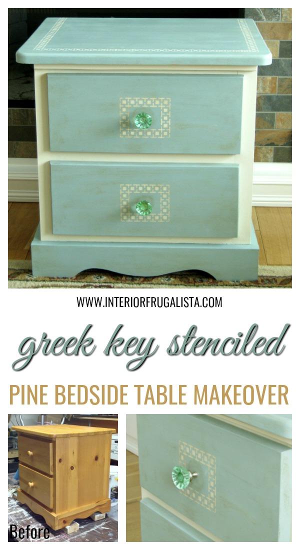 Greek Key Stenciled Pine Night Table Transformation