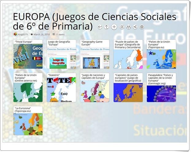 """""""11 Juegos para el estudio de EUROPA en 6º de Primaria"""""""
