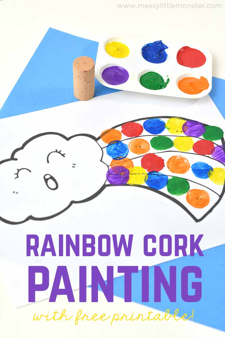 Easy rainbow craft for kids - A cork painting rainbow project for toddlers and preschoolers. This fun painting idea for kids is a great craft for learning colours. FREE printable rainbow template included.