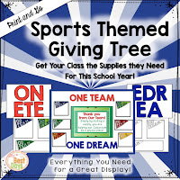 This Sports Themed Giving Tree is perfect to get your supplies for Back-to-School Nite or Open House!
