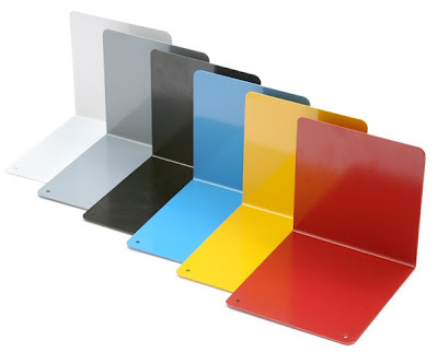 steel bookends in six colors, including blue and yellow