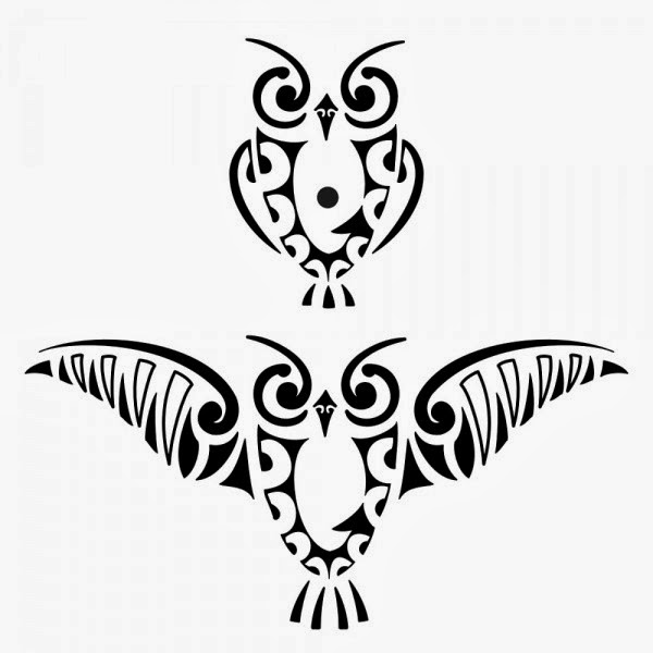 Owls tribal tattoo stencil