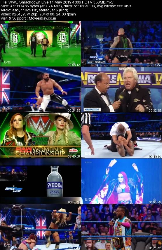 Screen Shoot of WWE Smackdown Live 14 May 2019 480p HDTV 350MB