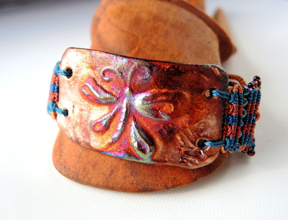 Macrame bracelet with butterfly focal in raku.