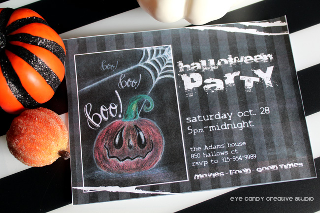 boo, hand lettered invite, halloween party invitation, pumpkins