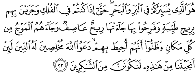 Surat Yunus Ayat 22