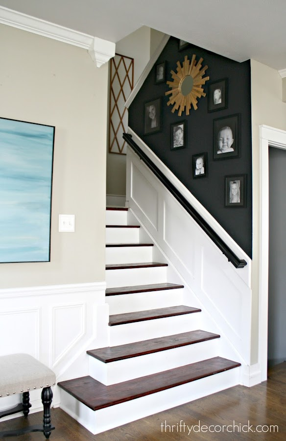 Gallery wall wood stairs