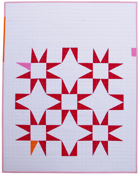 Modern Red and White Star Baby Quilt - Red Pepper Quilts