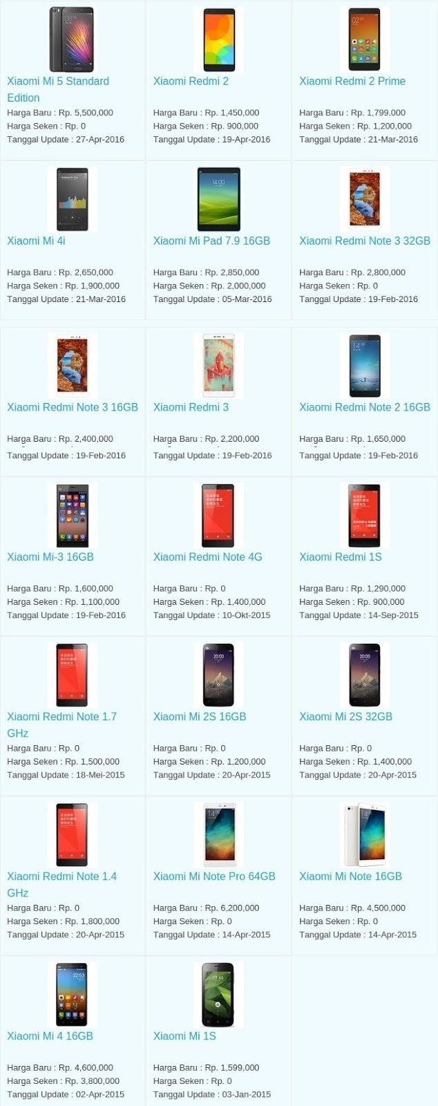 Daftar Harga Hp Terbaru Xiaomi Mei 2016