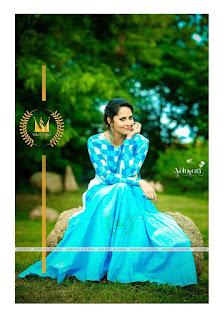 Anasuya Celetes Dushera in Blue Dress