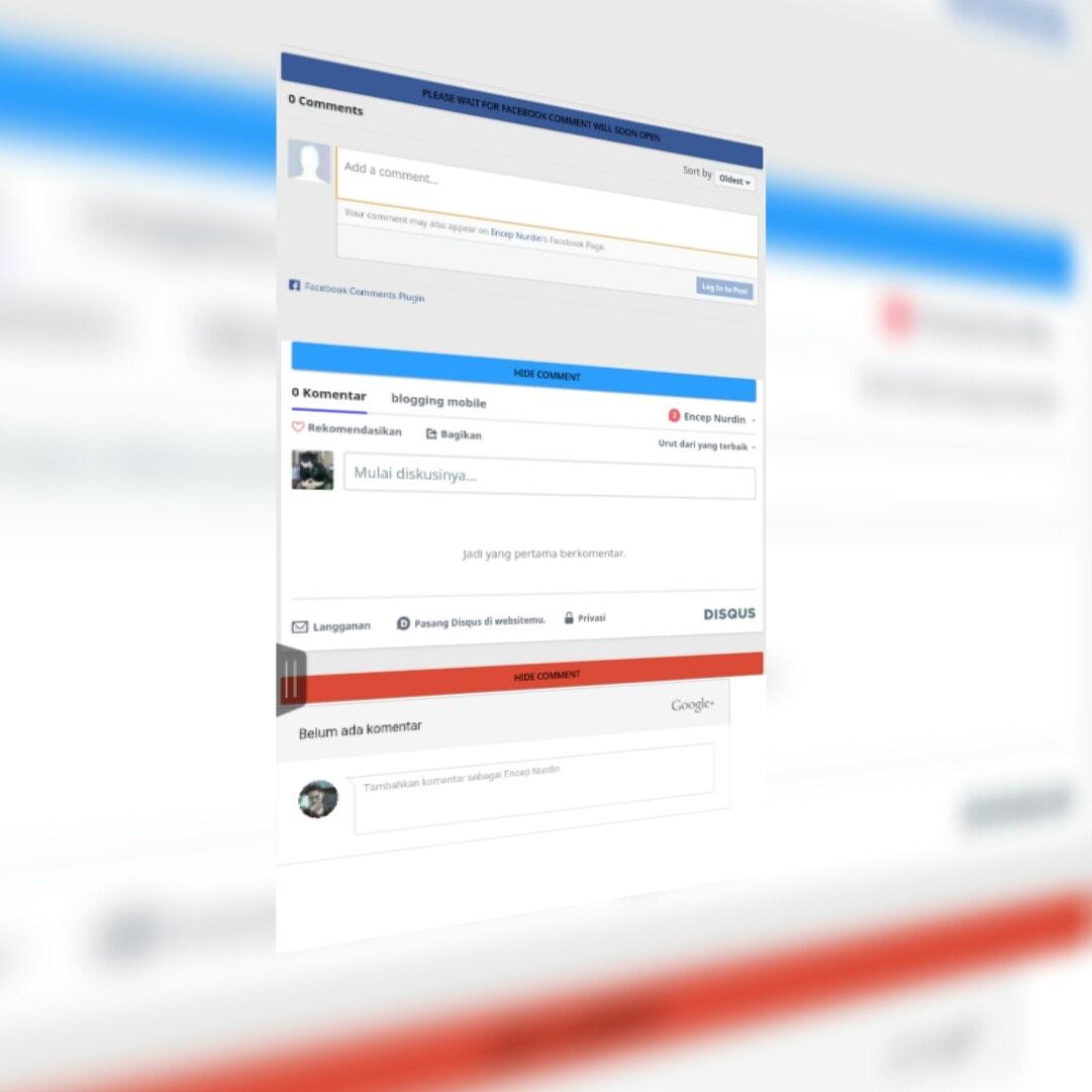 memasang tiga sistem komentar di amp HTML