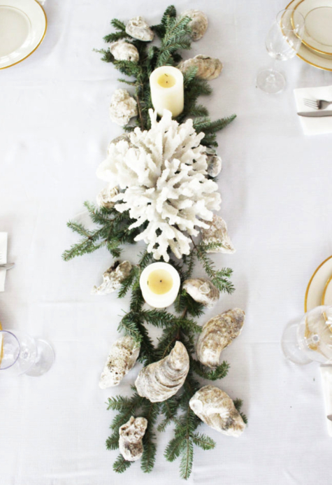 Coral Christmas Table Centerpiece
