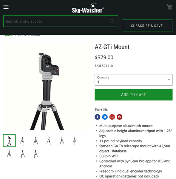 Lightweight Sky-Watcher goto mount (Available from Amazon and other retailers)