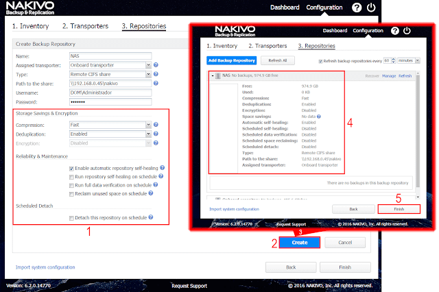 Nakivo Backup & Replication - Create backup repository, more options.