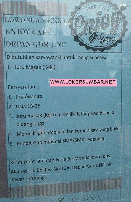 Lowongan Kerja di Padang – Enjoy Cafe – Juru Masak (Penutupan 27 Sept.2016)
