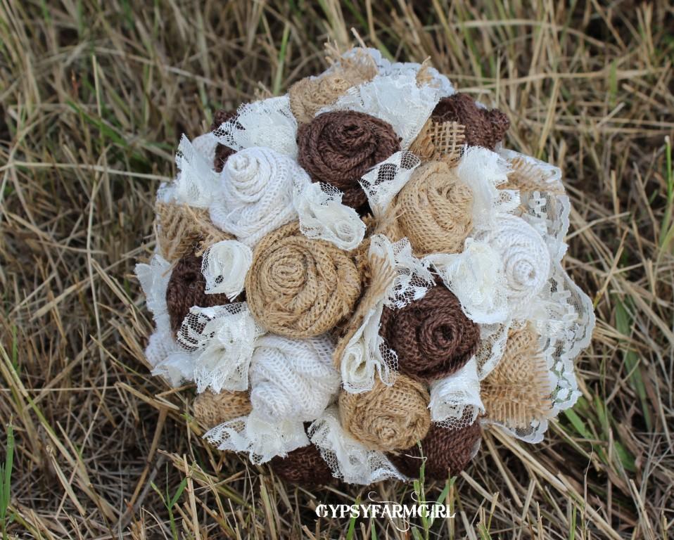 GypsyFarmGirl Burlap Lace and Feather Bridal Bouquets
