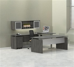 Mayline Medina Desk with Sit To Stand Ergonomic Bridge