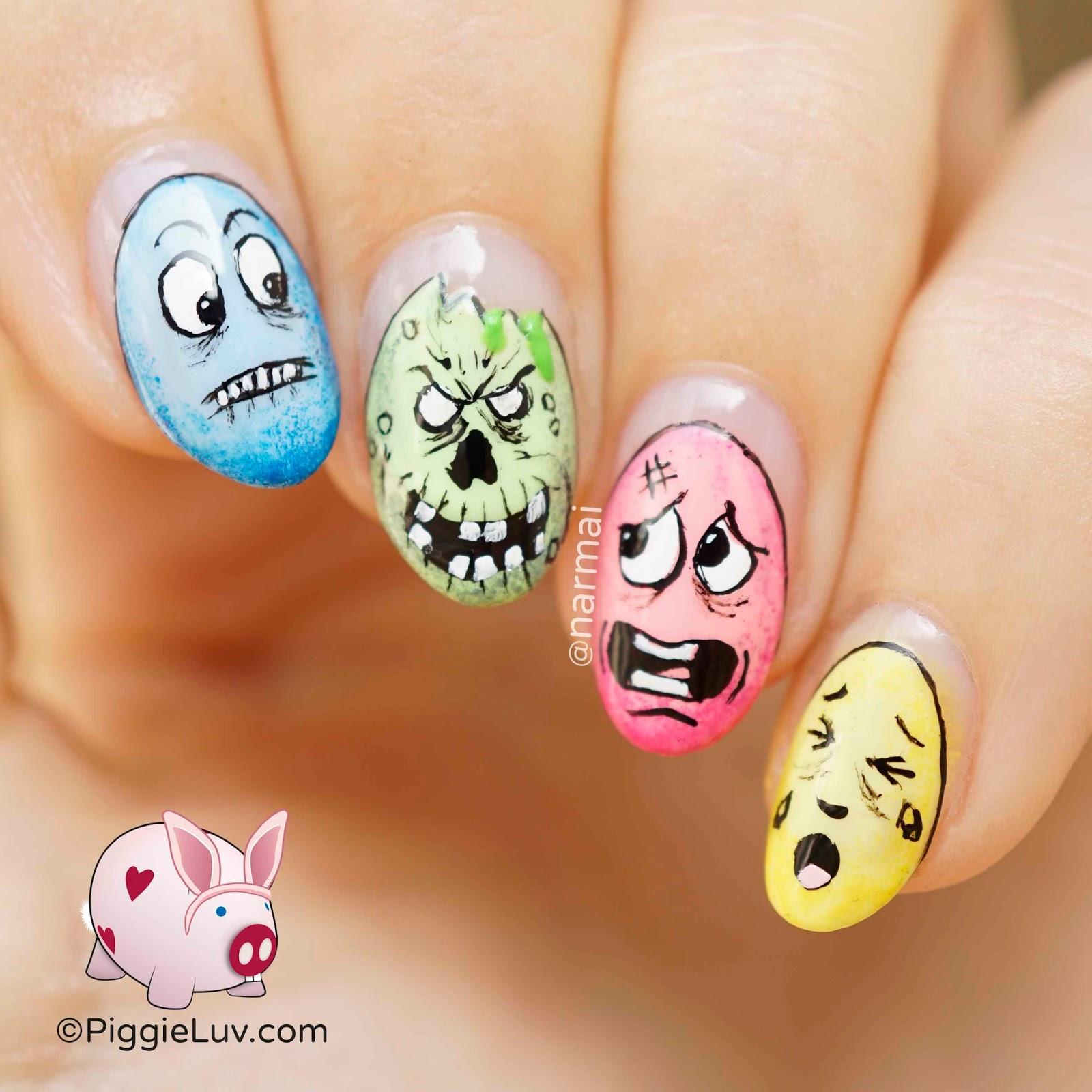Piggieluv Zombie Easter Egg Nail Art
