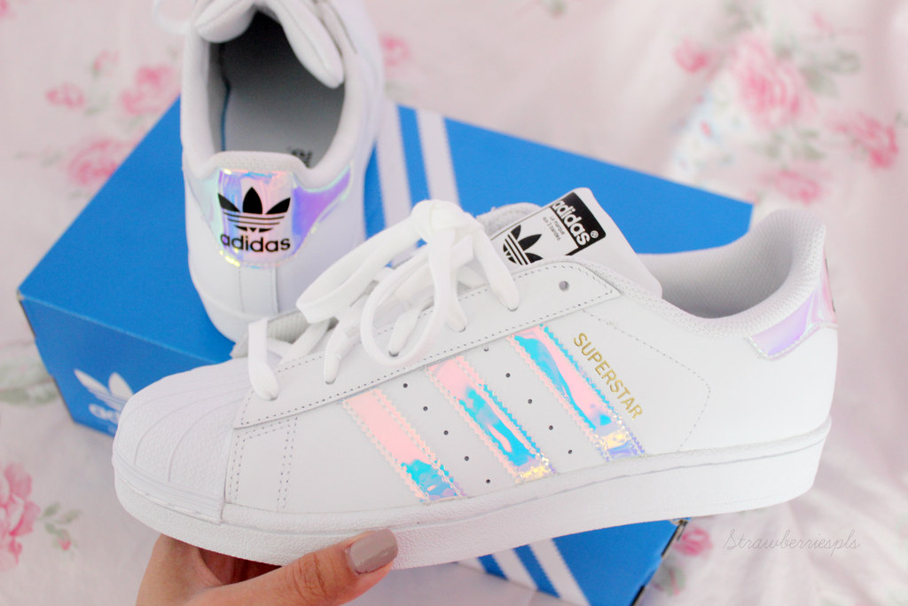 My Holographic Adidas Superstar Shoes ♡ Haul Review