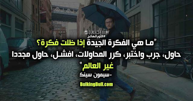 """6- """"ما هي الفكرة الجيدة إذا ظلت فكرة؟ حاول، جرب واختبر، كرر المحاولات، افشل، حاول مجدداً، غير العالم!"""" - سيمون سينك (Simon Sinek)"""
