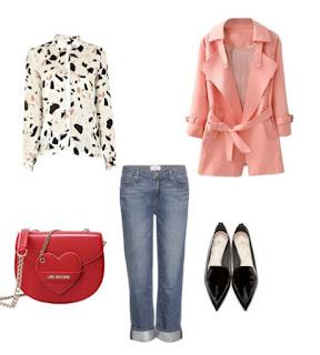 Sugestão para um passeio durante o dia no dia dos namorados: Calças de ganga, camisa com padrão rosa e preto, Casaco rosa, mala a tiracolo vermelha e sapatos rasos pretos de biqueira fina