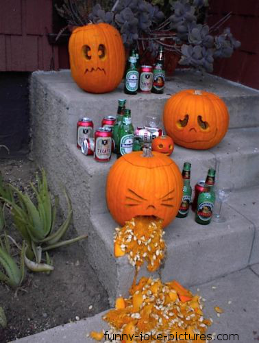 Hilarious Halloween Display Drunk Beer Photo