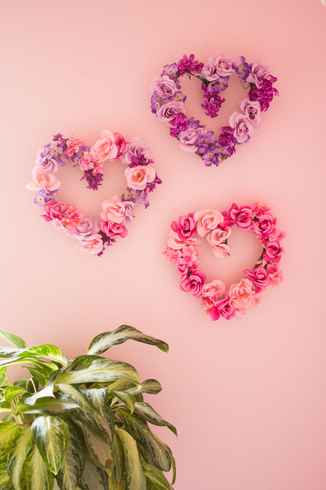 DIY Valentine's Day floral heart wreaths
