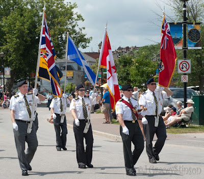 The colour guard in the parade for the 2015 Orillia Scottish Festival.
