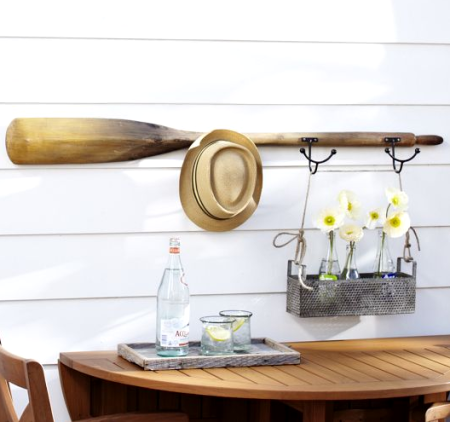 outdoor oar wall rack idea