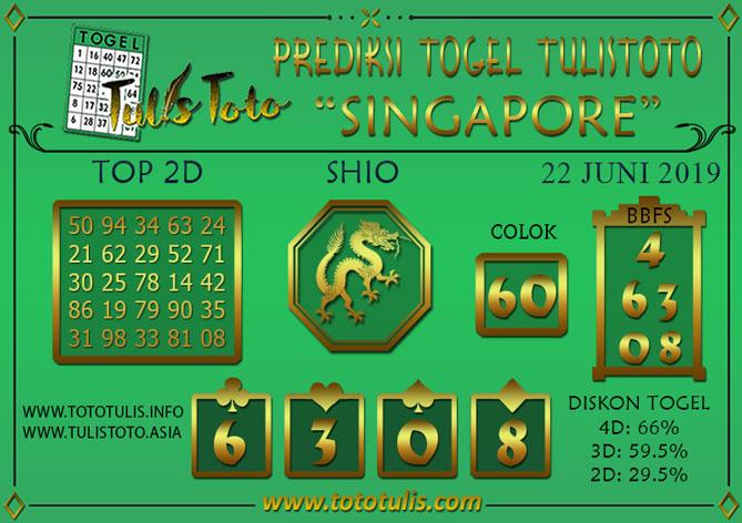 Prediksi Togel SINGAPORE TULISTOTO 22 JUNI 2019