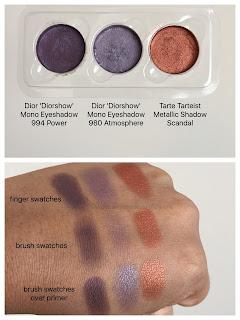 Diorshow mono eyeshadows and Tarte metallic eyeshadow