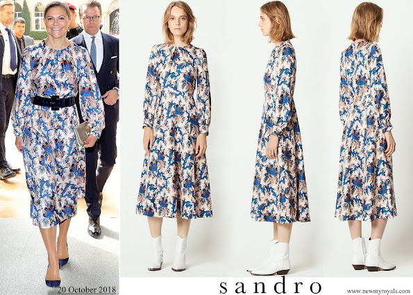 Crown Princess Victoria wore Sandro all-over print silk dress